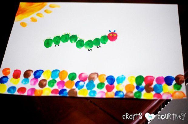 "Make ""The Very Hungry Caterpillar"" Inspired Fingerpaint Art - Fingerprint craft for kids"