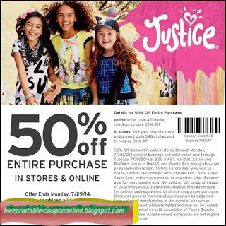 image relating to Justice Coupons Printable named Totally free Printable Justice For Women Coupon codes Printable Coupon codes