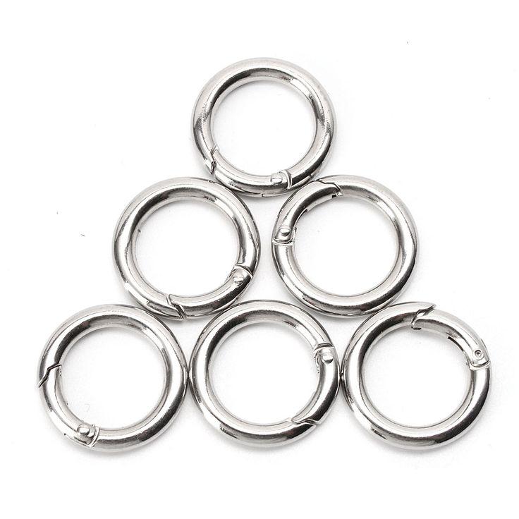6 قطع الفضة دائرة جولة تسلق التخييم الربيع التقط كليب هوك المفاتيح أداة التخييم تسلق التنزه في الهواء