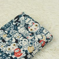 Половина двор японский мягкий бриз Фортуна Cat хлопок льняной ткани для ручной DIY Лоскутная сумка CR-A11