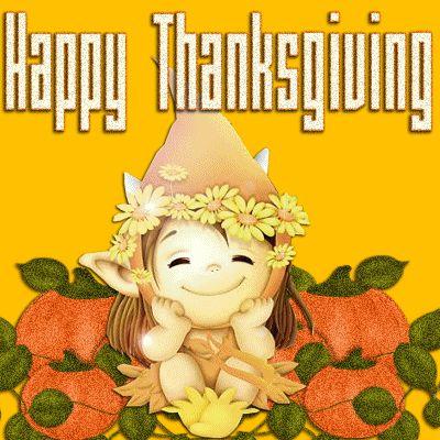 Happy thanksgiving gnome cute cartoon glitter animated gif pumpkin thanksgiving holidays