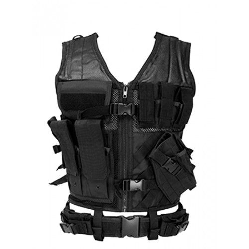 NCStar CTVL2916B Tactical Vest Black XL-XXL Tough PVC/Mesh Webbing - 99304 (NCSTAR / VISM). This black tactical vest is perfect for any situation, weather you are on the range, or simulating a combat situation.