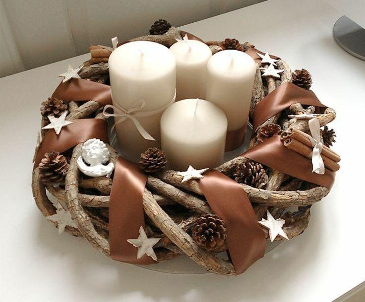 deko weidenkranz weihnachten adventskranz zweige band braun kerzen #weihnachtsdeko #christmas