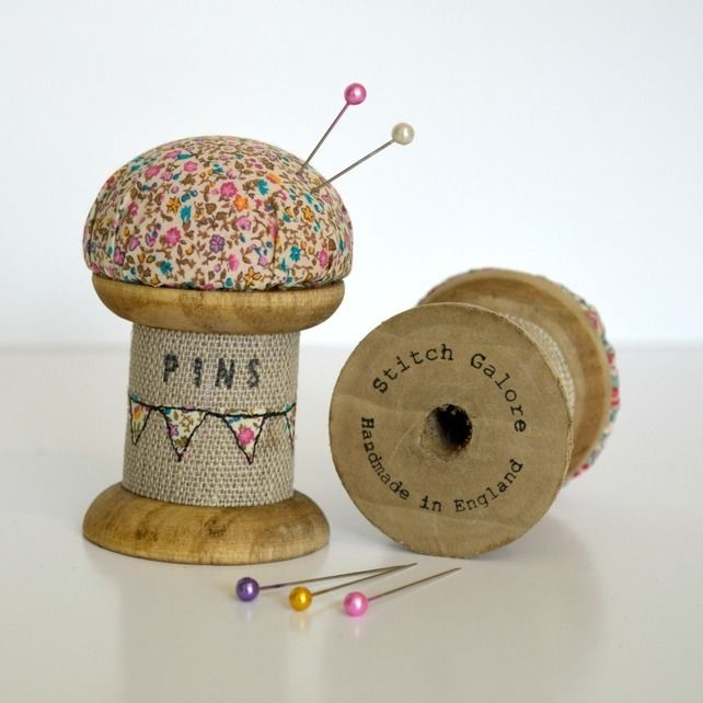 PINCUSHION wooden spool, cotton reel pincushion decorated with embroidery