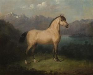 Carl Martin Von Ebersberg - Portrait Of A Horse With The Veldesersee In The Background