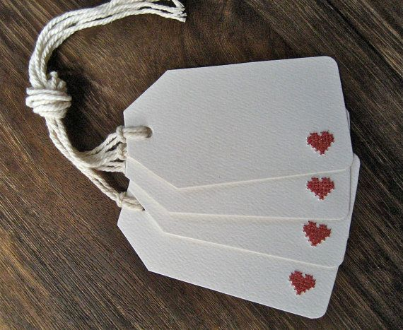 4 Cross-Stitch Heart Gift Tags by LeobellaBoutique