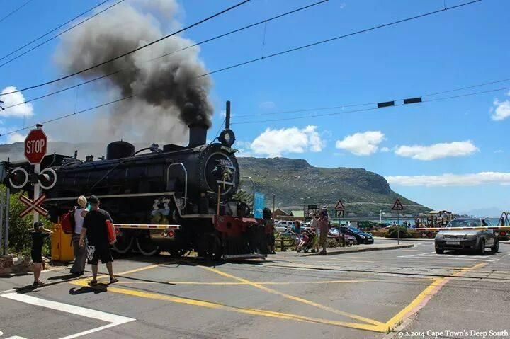 #CapeTown 's only working Steam Train. Out in full force at Fishhoek on the Coast. Lovely memories from childhood. Embedded image permalink