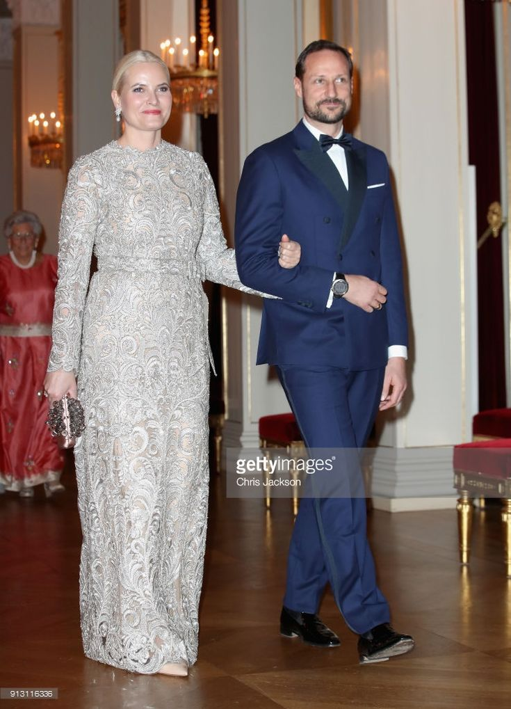 Crown Princess Mette Marit of Norway and Crown Prince Haakon of Norway walk into dinner at the Royal Palace on day 3 of the royal visit to Sweden and Norway by Prince William, Duke of Cambridge and Catherine, Duchess of Cambridge on February 1, 2018 in Oslo, Norway.  (Photo by Chris Jackson - Pool/Getty Images)