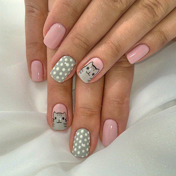 Beautiful gel polish for manicure, Beautiful nails 2016, Cats on nails, Cheerful nails, Fashion nails 2016, Grey and pink nails, Nails with cats,…