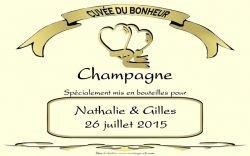 Etiquette champagne mariage pas cher ivoire personnalisées