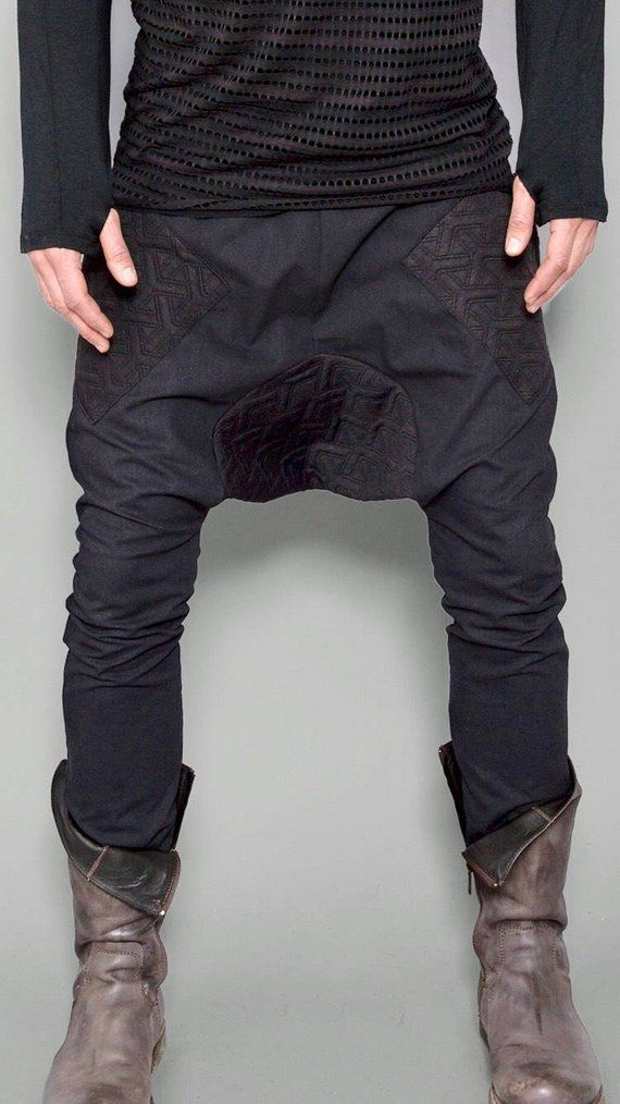 bedeb1904d07 Black Futuristic Pants | Drop Crotch Pants | Mens Harem Pants | Dystopian  Clothing | Urban Clothing