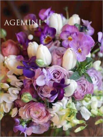 チューリップとビオラのブーケ。 |Viola and Tulip  wedding bouquet|AGEMINI