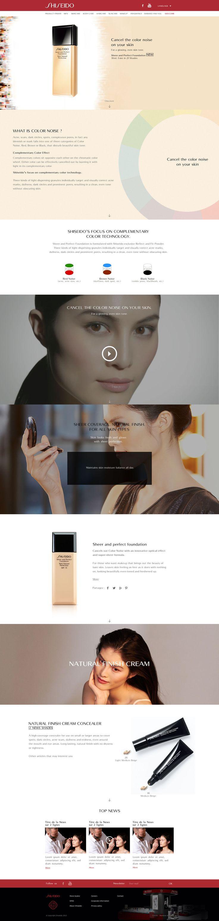 """Direction Artistique & Création d'un mini-site """"MS Foundation"""" en Responsive Design avec Parallaxe pour la marque """"Shiseido"""". #WebDesign #Luxe #UX Design"""