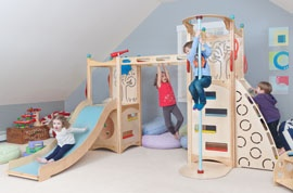 If you have the space and live in an area where outside play isn't always possible, this indoor play set from CedarWorks sure would be a fun place to pretend, get some exercise and play games together.