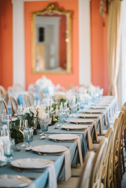 Kristen & Steve's elegant blue and gold southern wedding at The William Aiken House in Charleston, SC | Real wedding featured on Hey Wedding Lady | Photograph by Sean Money + Elizabeth Fay