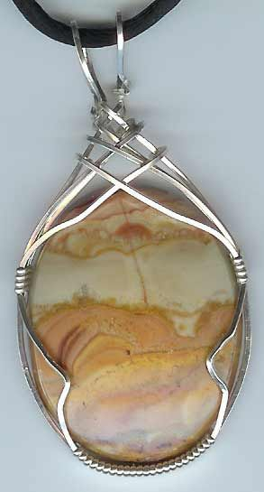 "wire wrapped stones patterns | Jasper Stone with Sterling Silver ""criss cross"" pattern wire wrap"