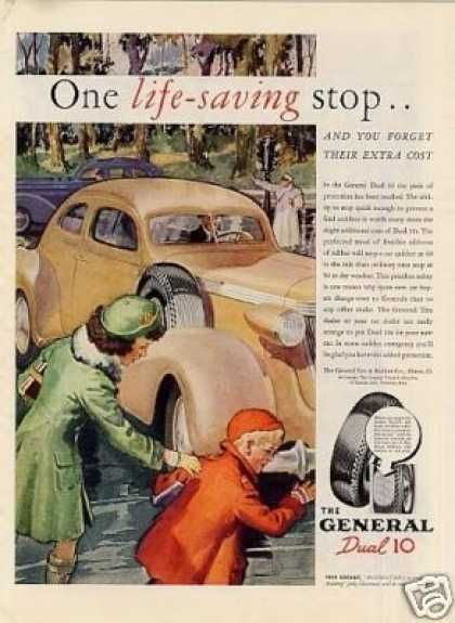 "Vintage General Tire Ad from 1937. ""One life-saving stop.. and you forget their extra cost.."""