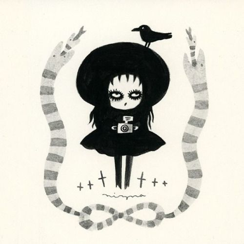 "By Mizna Wada. Illustration of Lydia Deetz from ""Beetlejuice"""