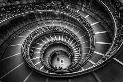 Håkan Johansson - Spiral, spiral staircase, photograph, Aerial view, Bird-eye, wall art