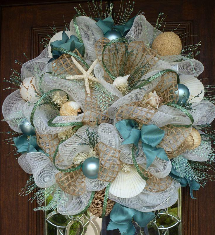 deco mesh shabby chic beach wreath beach wreaths shabby. Black Bedroom Furniture Sets. Home Design Ideas