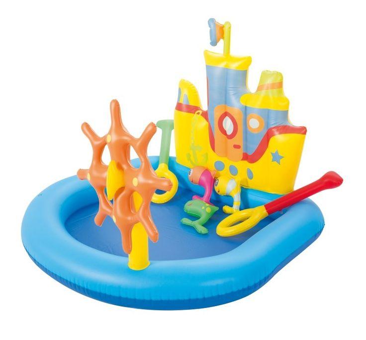 Bestway playcenter sleepboot 140x130x104cm  Speelbad in de vorm van een sleepboot. Kleurig met apart stuurwiel en speelgoed. Watercapaciteit: 84 ltr. Incl. aftap plug veiligheidsventiel en reparatie patch. Van stevig getest vinyl 026/022 mm. Leeftijd: 2. Afmeting: 140x130x104 cm.  EUR 30.95  Meer informatie