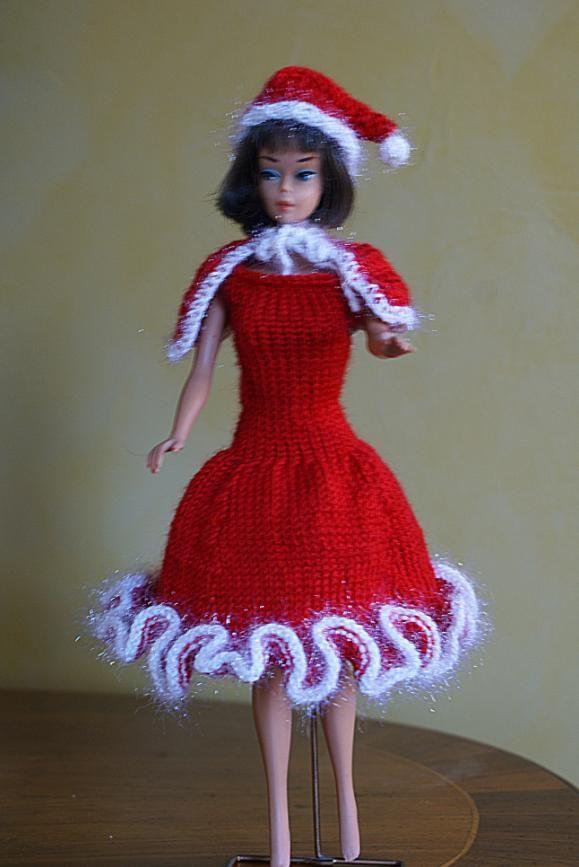 tricot barbie tenue de no l n 1 par les copinautes b. Black Bedroom Furniture Sets. Home Design Ideas