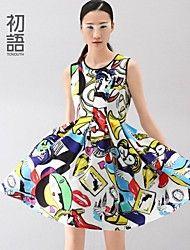 toyouth ® primavera del 2015 pitture a olio astratte stampa abiti senza maniche in vita