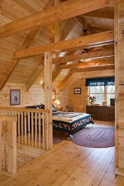 Interior, vertical, master bedroom suite in loft, Gilchrist residence, Monterey, Tennessee, Honest Abe Log Homes on Log Homes, Timber Frame and Log Cabins by Honest Abe http://www.honestabe.com/social-gallery/arcd-6543-3