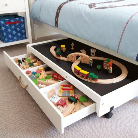toy organization: under bed storage