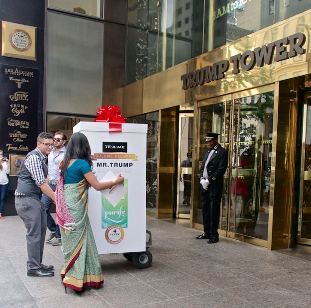 "They travelled all the way from Kolkata to New York City to deliver the tea bags right to the doorsteps of Trump Towers. | Two Women Hand-Delivered 6,000 Teabags To Trump Tower To Help Donald Trump ""Purify"" Himself"