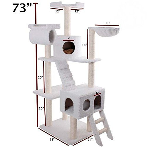 Majestic Pet Products 73 inch Cream Bungalow Cat Furniture Condo House Scratcher Multi Level Pet Activity Tree * Read more at the image link. (This is an affiliate link and I receive a commission for the sales)