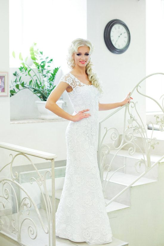 Love this! Romantic white crochet wedding dress with sheer sleeves and sash #Sustainable, #Handmade Wedding Dresses, #Eco Friendly, #Crocheted, #Crochet, #Bohemian, #Wedding Styles, #Diy, #Dresses and Fashion, #Wedding Dresses