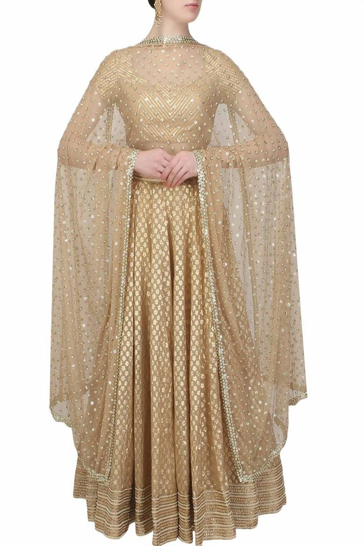 Beige and gold gota patti lace lehenga and blouse set available only at Pernia's Pop Up Shop.