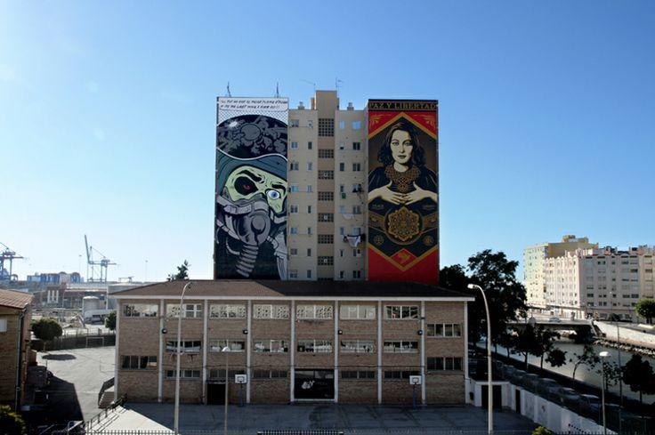 SHEPARD FAIREY & D*FACE – Mural em Malaga