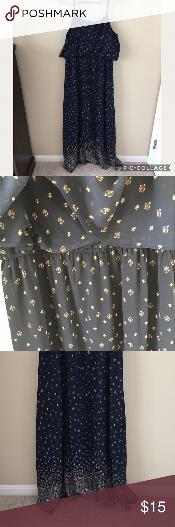 Target Maxi Dress! Size XL target maxi dress, blue with gorgeous decorative detail. It is clinched at the waist, but stretchy! Has front overlay. The color is navy blue. Like new condition! Target Dresses Maxi