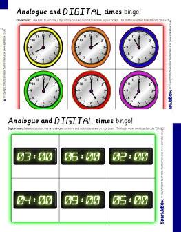 Analogue and digital o'clock times bingo (SB1303) - SparkleBox