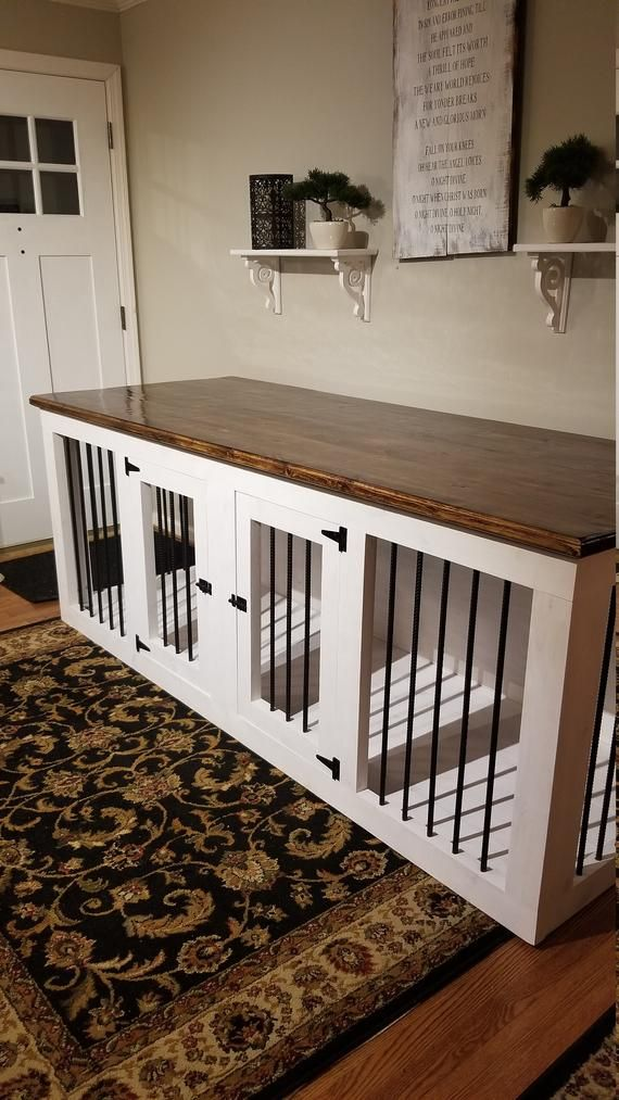 L Wooden Double Dog Kennel Crate Furniture Wood Etsy