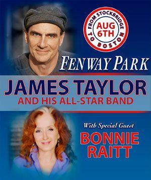 #JamesTaylor #BonnieRaitt http://www.fenwayticketking.com/james-taylor-fenway-park-tickets.html