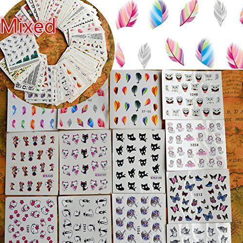 50sheets Nail Art Water Transfer Stickers Mixed Designs Beauty Flower Watermark on nails tips Decals Wraps Nail Art >>> Visit the image link more details.