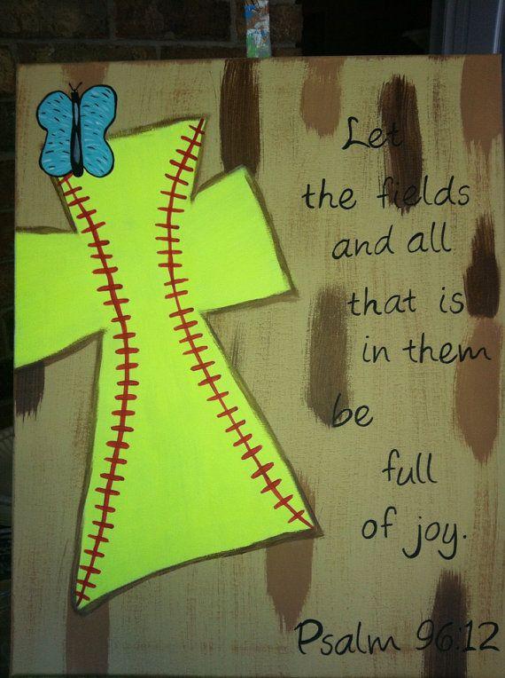 Softball cross by FaithfullyFramed on Etsy, $25.00