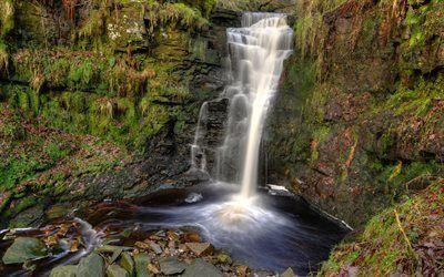 Scarica sfondi rock, cascata, verdi, lago, acqua, inghilterra
