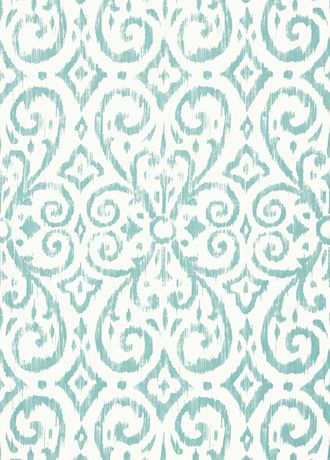 Patara Ikat Wallpaper from Thibaut - T64145 - Aqua