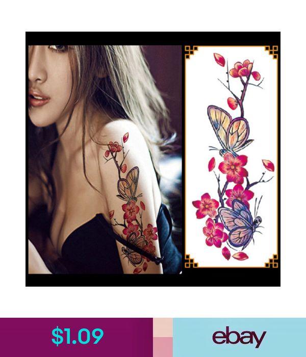 $1.09 – 3D Lifelike Cherry Blossoms Rose Big Flowers Waterproof Temporary Tattoo…