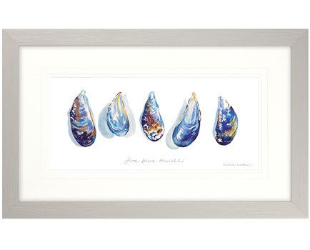 Five Blue Mussels Framed Print available from Browsers Furniture Co., Limerick, Ireland. https://www.browsers.ie/products/five-blue-mussels-framed-print?category=pictures-signs&top_category=5