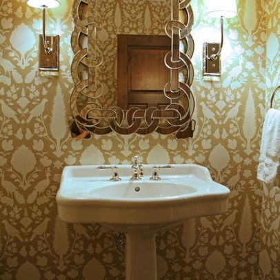 Powder room wallpaper schumacher chenonceau r for Schumacher chenonceau charcoal wallpaper