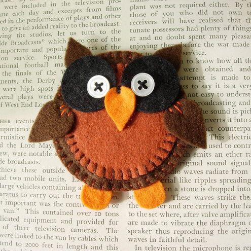 "Folksy :: ""owl brooch""   Craft Juice"