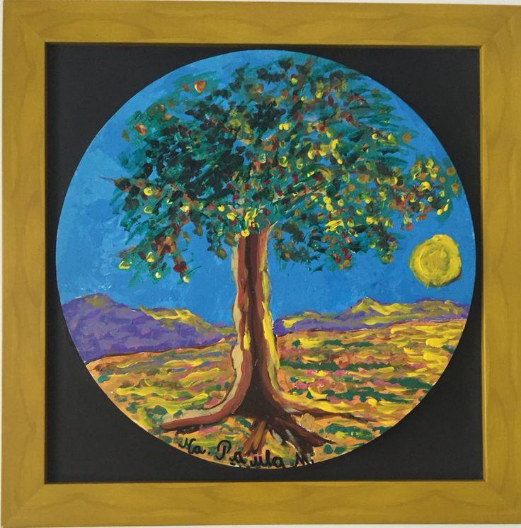 Brilló al atardecer 70x70 Acrílico mate y perlado sobre lienzo circular Paisaje con textura