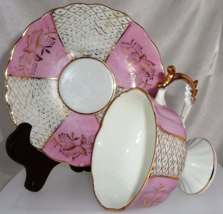 CUP & SAUCER  SET . LOVELY IRIDESCENT PINK AND WHT &GOLD W/CUTOUTS JAPAN #UNBRANDED
