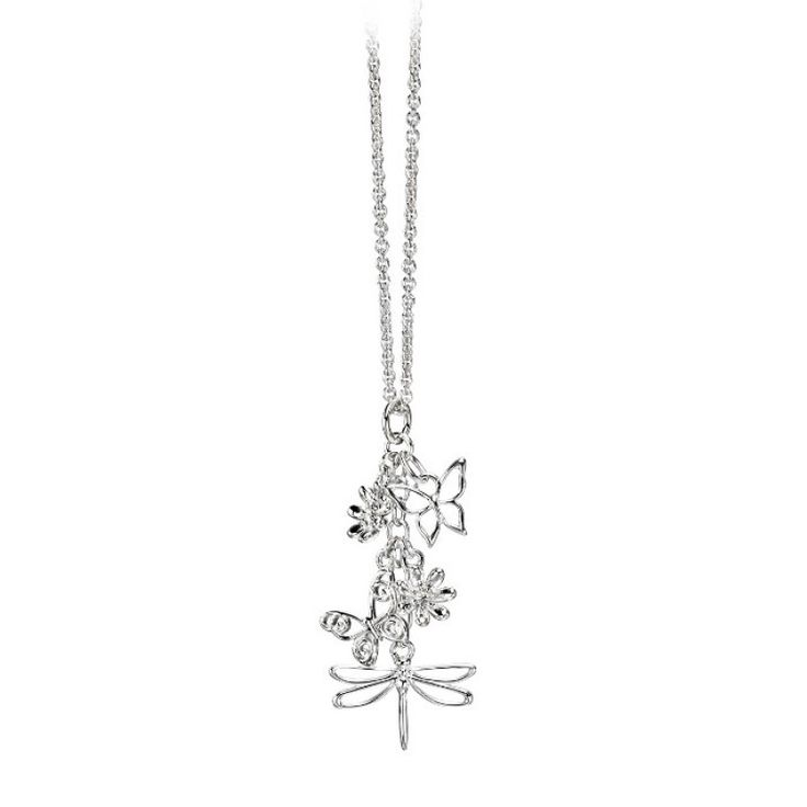 Butterfly, Dragonfly and Flower Cluster Pendant - Silver #Catherinejones #cambridge #necklace #bracelet #pearls #jewellery #trends