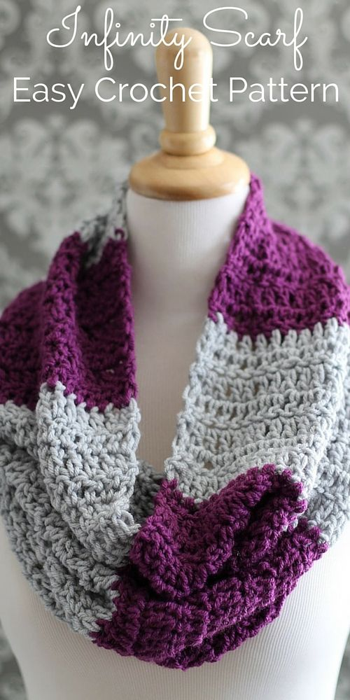 This elegant infinity scarf crochet pattern is easy and fun! Make them in multiple color combinations and palettes to go with all of your favorite outfits! They make absolutely beautiful gifts.